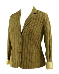 Taupe A Pea in the Pod Maternity Green Striped Maternity Blazer (Gently Used - Size Medium)