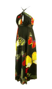 *New* Black with Colorful Butterfly Print Long Flowing Maxi Dress by Nicole Michelle (Size Small)