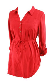 Red Motherhood Maternity Button Embellished Maternity Blouse (Gently Used - Size Large)