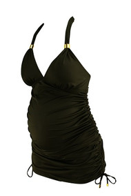 *New* Black A Pea In The Pod Maternity Gold Tassel Halter Top 2 Piece Tankini Maternity Swimsuit Set