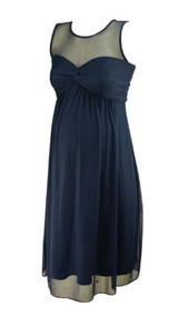 Navy David's Bridal Twisted Pleated Bust and Flowy Maternity Dress (Like New - Size X-Small)