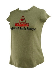 Gray M-Fasis Maternity by California Blue Graphic Tee: Warning Pregnant  & Easily Annoyed  (Gently Used - Size Small)
