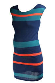 *New*  Navy A Pea In The Pod Maternity Short Sleeve Striped Summer Maternity Dress with Missing Belt