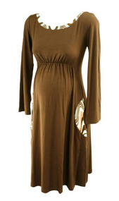 *New* Brown Nicole Miller Maternity Dress with Patterned Bias Binding on Neck and Pockets (Size Small)
