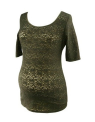 Black A Pea in the Pod Lace 3/4 Sleeve Maternity Top (Gently Used - Size Medium)