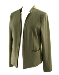 *New* With A Flaw: Gray Faux Leather Trim Maternity Blazer by Drew for A Pea in the Pod Collection (Size Large)