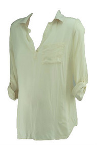 *New* Cream A Pea in the Pod Maternity Consignment Misoka Maternity Long Sleeve Blouse with Pleated Shoulder Detail (Size Large)