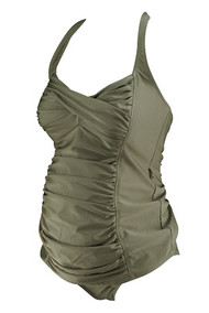 *New* Metallic Taupe A Pea in the Pod Maternity 2 Piece Maternity Tankini Set (Size Small)