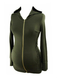*New* Black A Pea in the Pod Maternity Long Sleeve Zip Up Hoodie Sweater (Size Medium)