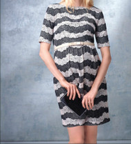 *New*  Ivy & Blue Maggy Boutique For  A Pea in The Pod Maternity Scallop Stripe Maternity Dress Missing Belt (Size Large)