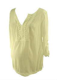 *New* White A Pea in the Pod Maternity 3/4 Sleeve Ruffled Maternity Blouse (Size Large)