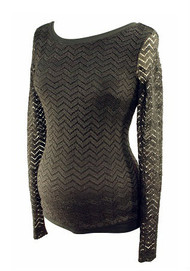 *New* Onyx Black A Pea in the Pod Maternity Laced Chevron Print Long Sleeve Maternity Sweater (Size Small)