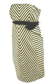 *New* Black A Pea in the Pod Maternity Striped Chevron Print Strapless Maternity Dress (Size Medium)