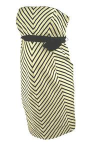 *New* Black A Pea in the Pod Maternity Striped Chevron Print Strapless Maternity Dress (Size Medium)