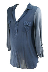 *New* Navy A Pea in the Pod Collection Maternity Double Front Pocket Maternity Blouse (Size Medium)