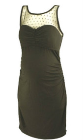 *New* Black A Pea in the Pod Maternity Sweetheart Ruched Maternity Dress with Dotted Sheer Neckline + Exposed Zipper (Size Medium)