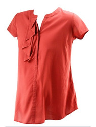 *New* Burnt Orange A Pea in the Pod Maternity Cap Sleeve Ruffle Career Blouse with Missing Belt String (Size Small)