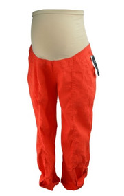 *New* Hot Orange Linen Mix A Pea in the Pod Maternity Cargo Adjustable Leg Maternity Summer Pants (Size Medium)
