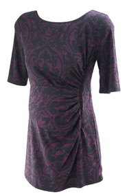 *New* Burgundy A Pea in the Pod Maternity Ruched 3/4 Sleeve Maternity Blouse (Size Large)