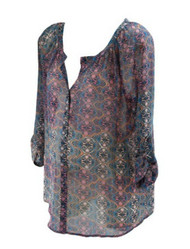 *New* Floral Print A Pea in the Pod Maternity Career Maternity Blouse  with Adjustable Sleeves (Size Large)
