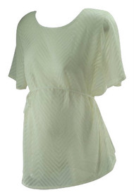 *New* Cream A Pea in the Pod Maternity Etched Chevron Print Maternity Sheer Blouse (Size Large)