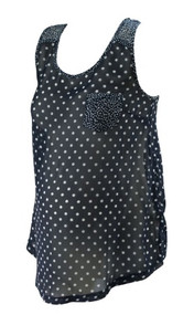 Navy Polk-A-Dot New Look Maternity Exposed Back Sleeveless Top (Like New - Size 10)
