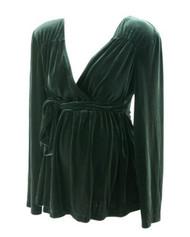 Black Motherhood Maternity Velvet Maternity Blouse with Adjustable Tie (Gently Used - Size Large)