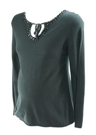 Black Liz Lange Maternity for Target Embellished Maternity Sweater (Pre-Owned - Size Medium)