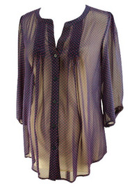 Navy Polk-A-Dot Pink Collective Concept Sheer Blouse for A Pea in the Pod Collection (Like New - Size Small)