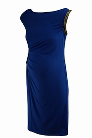 *New*  Royal Blue A Pea In The Pod Maternity Ruched Side High Scoop Neck  Embellished Sleeve  Maternity Special Occasion Dress