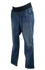 Blue Maternity Distressed Old Navy Maternity Boyfriend Skinny Jeans (Gently Used - Size 14R)