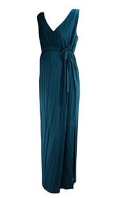*New* Steel Blue A Pea in the Pod Maternity Casual Belted Maxi Maternity Dress (Size Large)