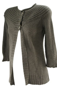Taupe Oh Baby! by Motherhood Maternity 3 Button Maternity Cardigan (Gently Used - Size Small)