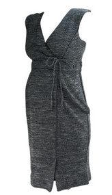 *New* Charcoal A Pea in the Pod Maternity Sleeveless Faux Leather Trim Maternity Dress (Size Small)