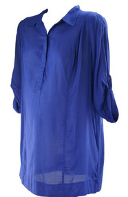 *New* Blue A Pea in the Pod Maternity Adjustable Long Sleeve Button Down Blouse (Size Large)