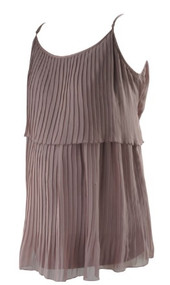 *New* Muted Plum A Pea in the Pod Maternity Adjustable Spaghetti Straps Pleated Layer Maternity Top (Size Large)