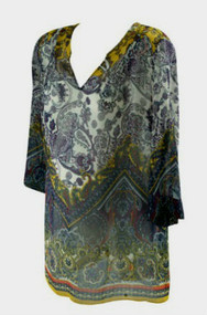 *New* A Pea in the Pod Maternity 3/4 Sleeve Floral Print Maternity Sheer Blouse (Size Large)