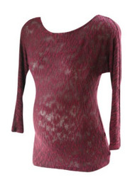 *New* Burgundy Wine A Pea in the Pod Maternity Marled Burn Out Long Sleeve Maternity Sweater with 3/4 Length Sleeves (Size Small)