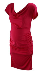*New* Magenta Rosie Pope for A Pea in the Pod Collection Maternity Short Sleeve Ruched Maternity Dress (Size Medium)