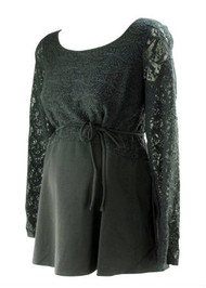 *New* Black Long Sleeve Maternity Lace Blouse by A Pea in the Pod Maternity (Size Large)