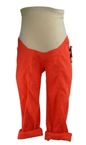 *New* Bright Orange Linen A Pea in the Pod Maternity Full Panel Maternity Adjustable Cargo Capri Pants (Size X-Small)