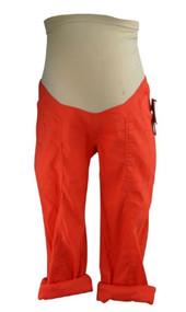 *New* Bright Orange Linen A Pea in the Pod Maternity Full Panel Maternity Adjustable Cargo Capri Pants (Size X-Small)