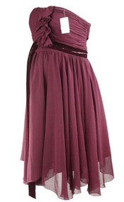 *New*  Wine A Pea In The Pod Collection Maternity Strapless A Line Special Occassion Maternity Dress