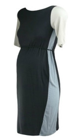 *New* Black A Pea In The Pod Maternity 3/4 Sleeve Color Block Scoop Neck Maternity Dress