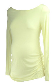 * New* Pastel Lemon A Pea In The Pod Maternity  Sheer Long Sleeve Scoop Neck Ruched Top