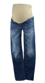Medium Wash GAP Maternity Real Straight Leg Full Panel Maternity Jeans (Gently Used - Size 4)