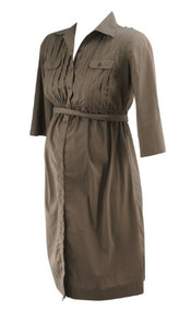 Chocolate A Pea in the Pod Maternity Adjustable Sleeve Belted Maternity Dress (Gently Used - Size Small)