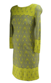 *New* Yellow Circle Pattern Taylor Maternity for A Pea in the Pod Maternity Long Sleeve Exposed Zipper Maternity Dress (Size Medium)