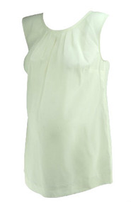 *New* Cream A Pea In The Pod Maternity Pleated Sleeveless Blouse With Missing Belt Strings