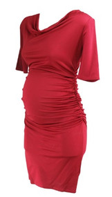 *New* Crimson Red A Pea in the Pod Maternity 3/4 Sleeve Slight Cowl Neck Ruched Maternity Dress (Size Medium)